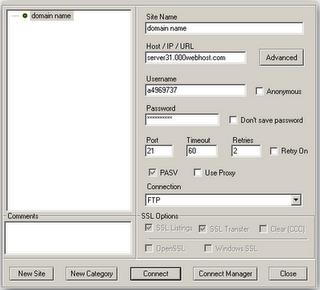 CoreFTP server settings