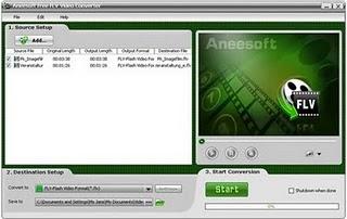 Aneesoft free FLV video converter Windows