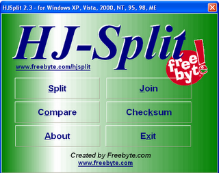 HJsplit Free File splitter and Joiner for Windows ,Mac and Linux