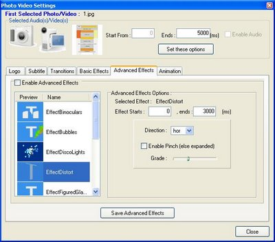 Photo to AVI ,MPEG ,FLV converter (Foto2Avi 2.3)