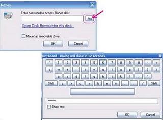 password using Rohos Disk Virtual Keyboard USB