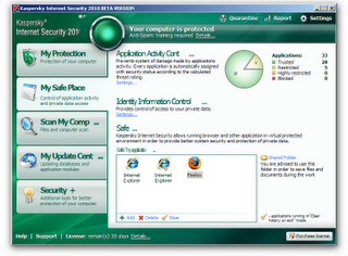 My safe place Kaspersky internet security 2010