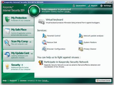 Security + Kaspersky internet security 2010