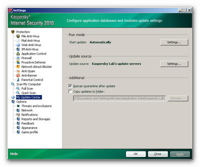 settings  Kaspersky internet security 2010