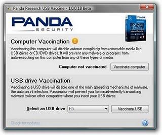 Panda USB  vaccine remove autorun worm